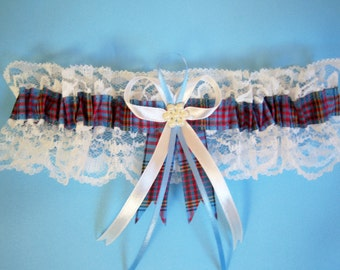 Anderson tartan wedding bridal garter with ivory lace. Made in Scotland.