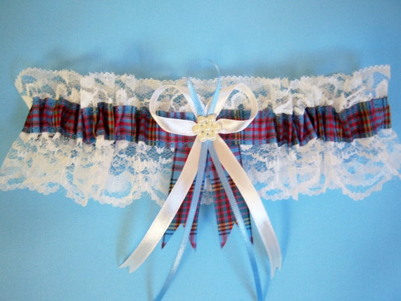 Anderson Tartan Wedding Bridal Garter With Ivory Lace Made In