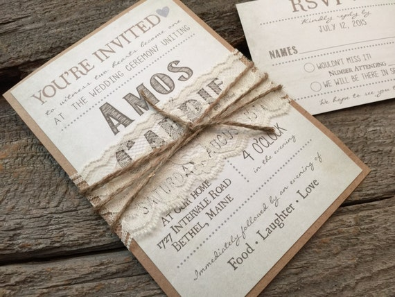 Rustic Wedding Invitation Sets: Country Wedding Invitation Set Shabby Chic Wedding