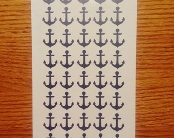 "50 Anchor Decals 1"", Peel and stick, vinyl anchor stickers, nautical decal, tumbler decal, cup decal"