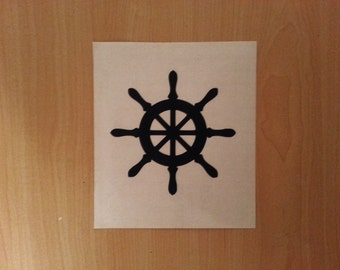 "Ship Wheel decal 2"", 3"",4"" high, car decal, laptop decal, wall decal, nautical sticker, nautical decal"