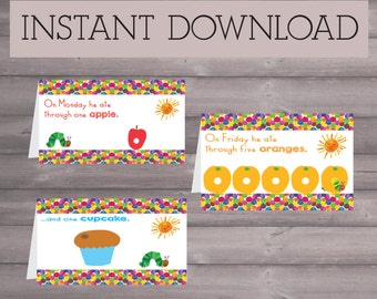 Very Hungry Caterpillar Eric Carle Birthday Downloadable Printable Food Sign Tents