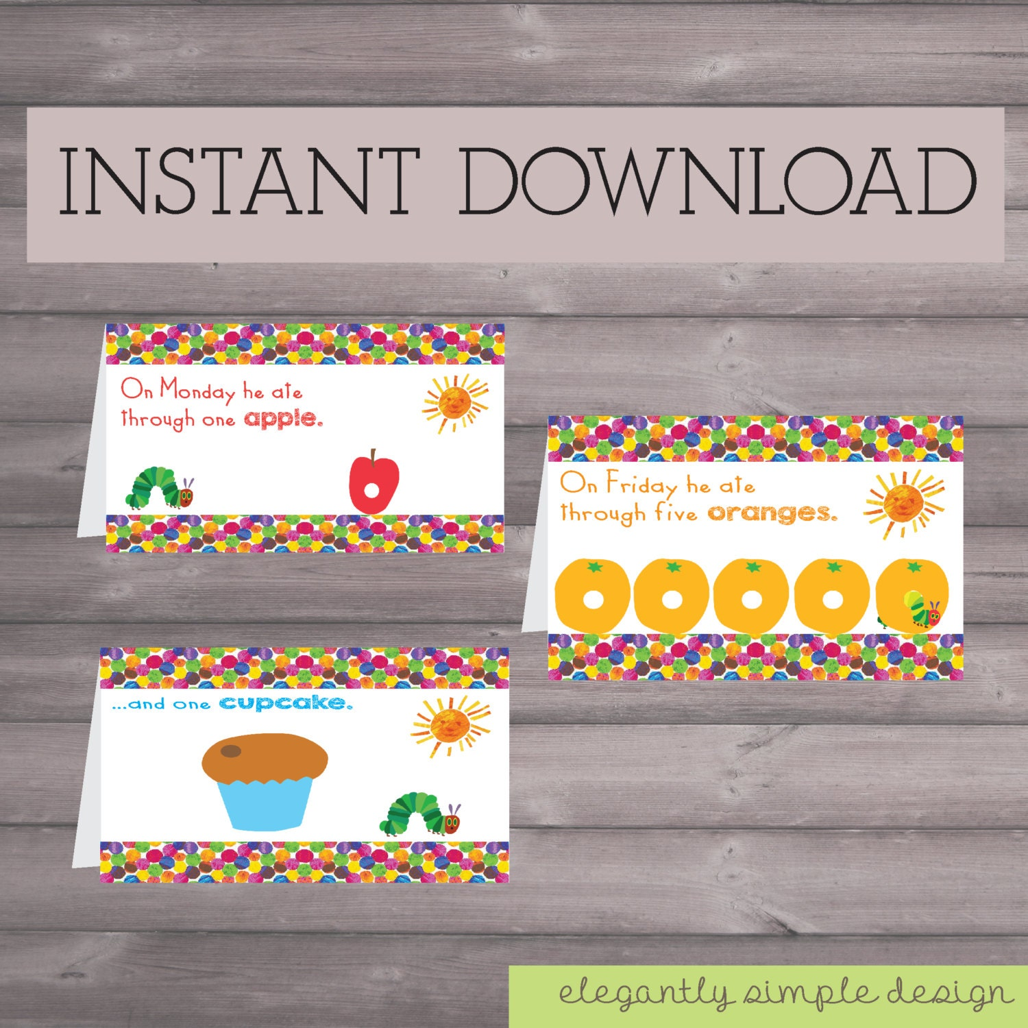Caterpillar Birthday Downloadable Printable Food Sign Tents