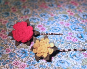 wool felt flower bobby pins