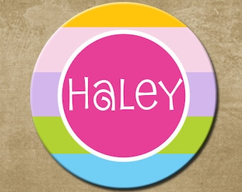 Personalized Childrens Melamine Plate, Pastel Colors, Kids Plastic Plate, birthday gift, Name Plate