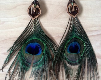 Serpentine&Peacock Feather Walnut Heart Earrings