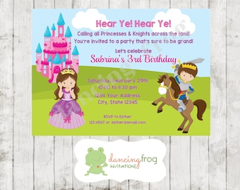Princess and Knight Birthday Invitation - Custom Printed Princess Knight Birthday Invitation - by Dancing Frog Invitations