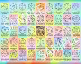 """The 44 Seals of Solomon - 12""""x16"""" Kabbalah poster for instant download - contains the 44 King Solomon seals and their interpretations"""