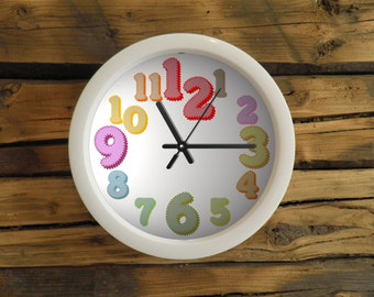 Classic white office clock with big coloured numbers, wall clock. Clock for children. Kids room, white frame clock, colorfoul, modern clock