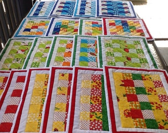 Huge Set of Colorful Fruit and Veggie Placemats - 19 in all!  Homemade!  FREE SHIPPING