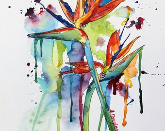 Birds of Paradise- Giclee Print on watercolor paper. 8x10 print.