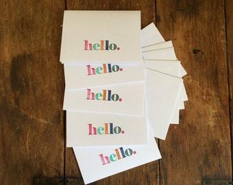 "Handstamped, multi-color ""Hello"" cards (Set of 5)"
