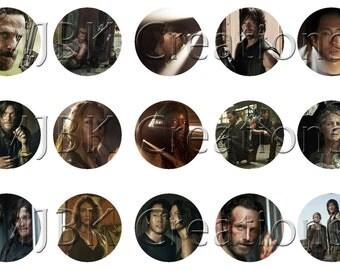 "The Walking Dead Season 5 1"" Bottle Cap Images - 4x6 Digital Collage Sheet - Instant Download"