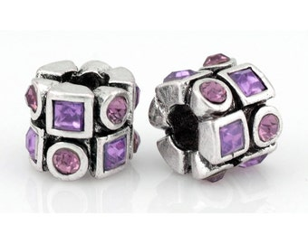 Purple Rhinestone Silver Spacer Bead Fit European Charm Bracelets #N-175