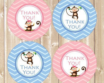 Thank You Favor Tags . Monkeys party tags. Printable Monkeys tag. Birthday monkeys Thank You Tags. Babyshower monkey. INSTANT DOWNLOAD