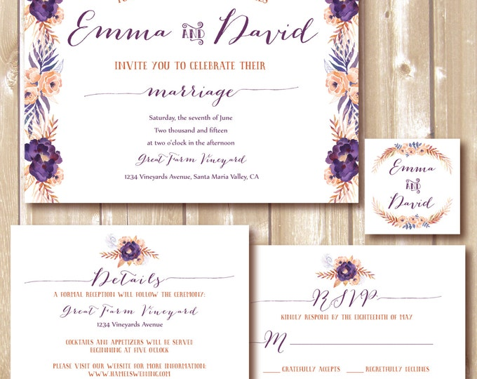 Wedding Invitation, Wedding RSVP card, Wedding custom invitation, Marriage DIY Personalized, Vintage,floral. Printable wedding invitation