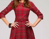 Red tartan dress.Plaid Mini Dress.Casual Flared Dress Long Sleeve.