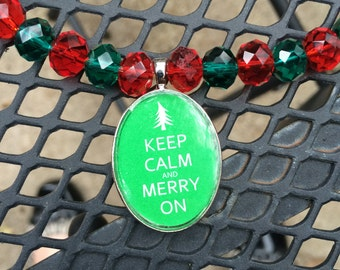 Christmas Keep Calm and Merry On Necklace