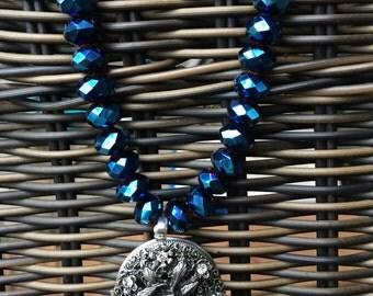 Deep Dark Teal Bead Necklace with Rhinestone Locket