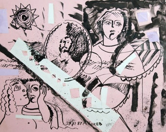 1987  ink drawing abstract figures portrait