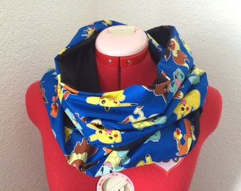 Pokemon Infinity Scarf Blue. Shawl, Cowl, Pikachu, Nerd, Geek, Pokeball