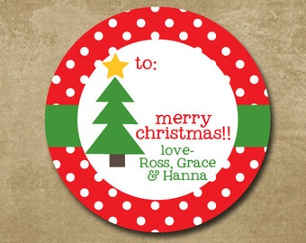 Holiday Gift Labels, Round Christmas Gift Stickers, Christmas Tree, To From Labels, Red Polkadots