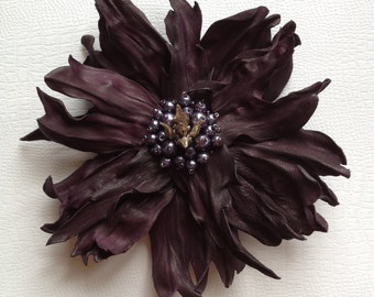 Dark Purple Leather Flower Brooch