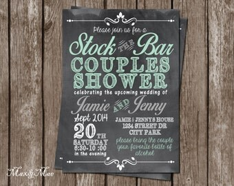 Stock the Bar Invitation, Wedding Shower Invitation, Couples Shower Invitation, Digital file, Printable