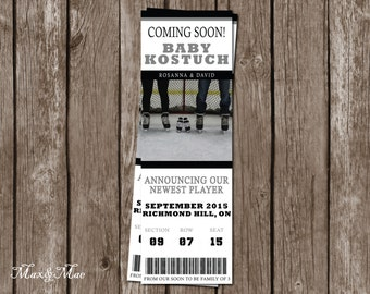 Baby Announcement Ticket, Hockey Baby Announcement, New Player Added to the Team, Any Sport, Digital