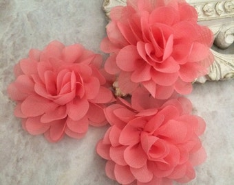 Petite Coral chiffon flower, chiffon flower, flower puff, material flower, headband flower, DIY supplies, fabric flower,