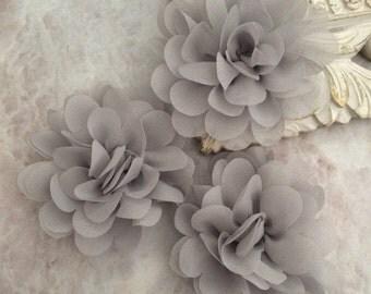 Petite Grey chiffon flower, chiffon flower, flower puff, material flower, headband flower, DIY supplies, fabric flower, gray flowers, gray