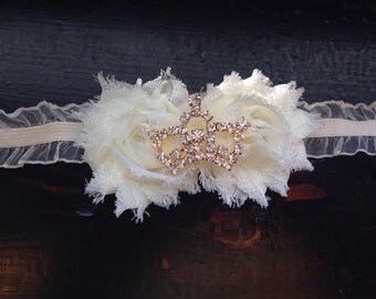 Champagne Lace Shoes and Matching Headband