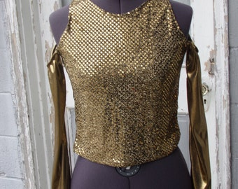 GOLD SEQUIN TOP -cold shoulder-small