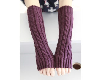 Purple Fingerless Gloves ,Cable Knit, Fall and Winter Mittens, Arm Warmers, Knit Fingerless Gloves,Wrist Warmers, Womens Gloves.#6003