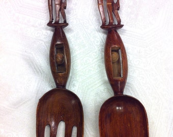 """Magnificent 15"""" Rattle Cage Giraffe African Artisan Salad Spoon and Fork Servers"""