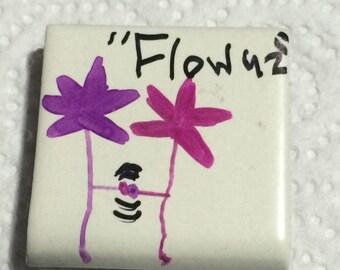 FLOWUZ   - hand drawn refrigerator magnets -  FLOWUZ  #202