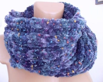 Long soft scarf, blue and violet color splashes of other colors