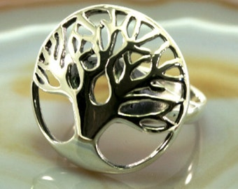 tree of life, ring, silver