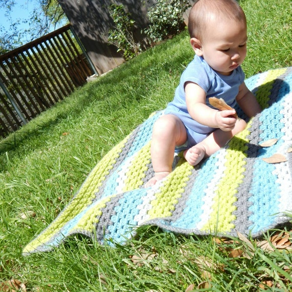 Granny Stripe Blanket Striped Crochet Blanket by ...