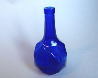 Vintage Faceted Cobalt Blue Glass Bottle/Decanter