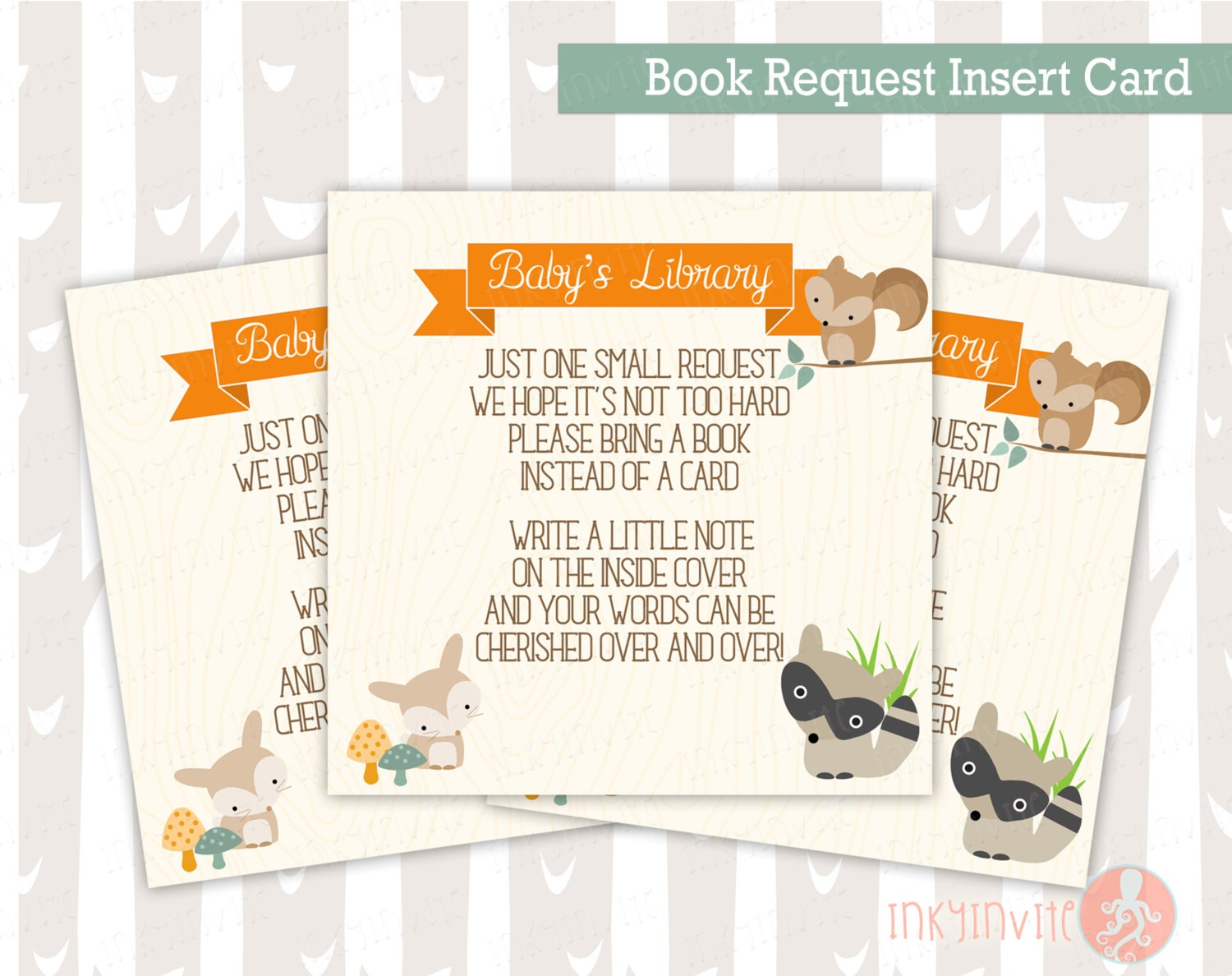 baby shower book request insert card sweet woodland baby boy