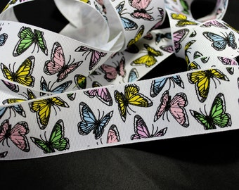"""By -the -Yard 1-1/2"""" wide Butterfly Grosgrain Ribbon for Hair Bows, etc"""