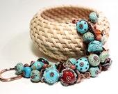 "Bracelet ""Turquoise&Chocolate"", Murano glass, lampwork glass bead, handmade glass beads"