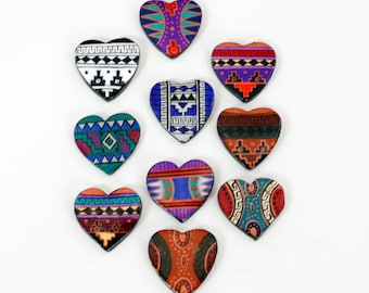Vintage Hand Painted Peruvian Ceramic Cabochons (12) Assorted Native Southwest Hearts
