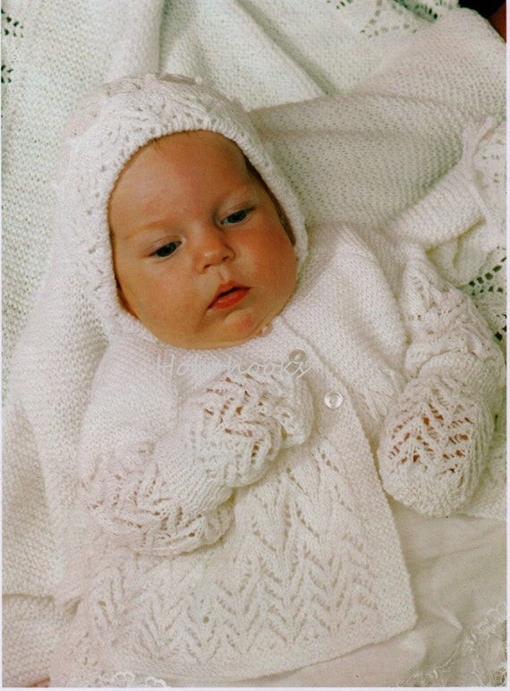 Knitting Patterns For Baby Layettes : Baby Knitting Pattern Baby Layette Baby Matinee Coat by Hobohooks