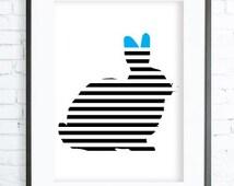 Rabbit Print, Black Rabbit  Print Art, printable Rabbit art, Print Art, Rabbit Wall Decor, Rabbit Art Print, office artwork
