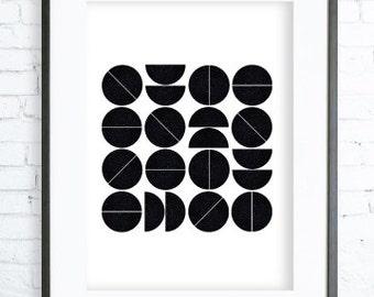 Geometric Black Circles Art, Instant Download Printable, Abstract Print Art, Abstract Art Print, White art, modern art, black & white