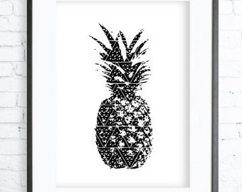 Oriental Pineapple Print - Pineapple Art - Pineapple Decor - Pineapple Wall Art - Print Art - Modern Art - Digital Print - Instant Download