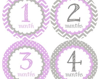 Purple & Gray Blue Monthly Onesie Stickers - Lavender Purple Girl Grey Soft Classic