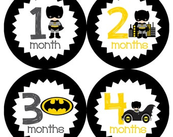 Batman Monthly Onesie Stickers - Superhero Superhereos